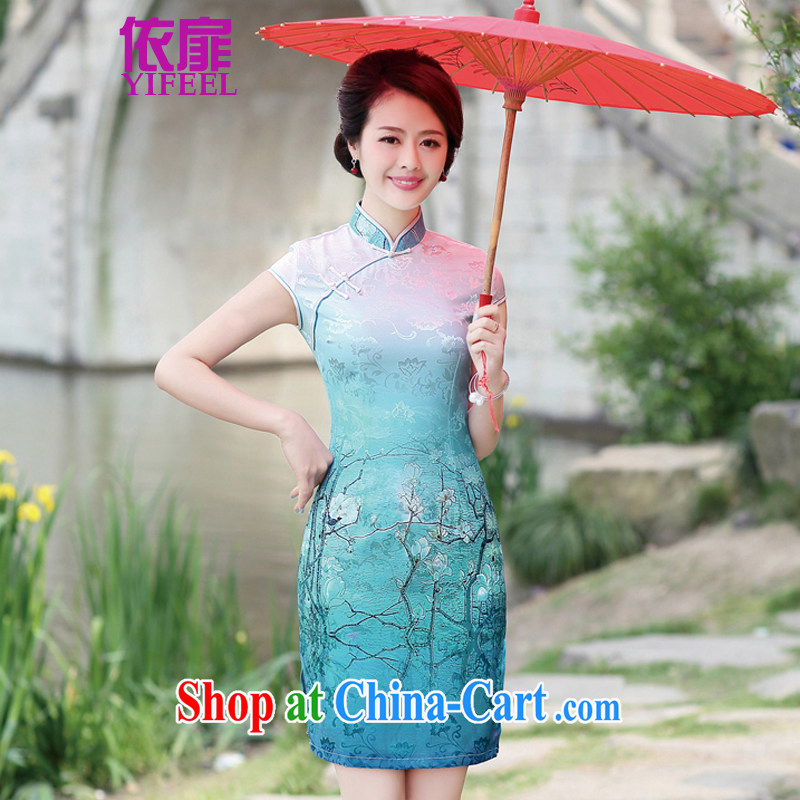 2015 Chinese fan-flower cheongsam traditional cloth Tie long collar container half sleeve on the truck, qipao YF 8892 container take XL