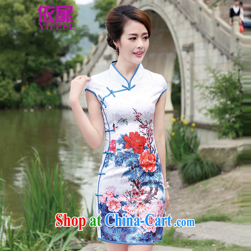 spattered with 2014 new women tall decorated quality 100 fresh ground graphics thin flower-style women dresses qipao YF 8891 blue floral XL