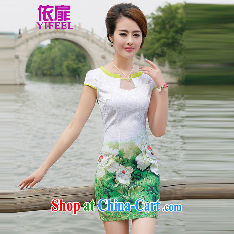 2015 new Korean Beauty retro short-sleeved dresses qipao graphics thin A Field skirt dress YF 8887 green Peony XXL