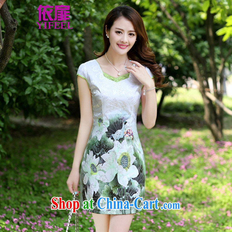 In accordance with 2014 spattered Silk Cheongsam upscale retro short-sleeved improved stylish sauna Silk Cheongsam dress YF 8896 Green lotus XL