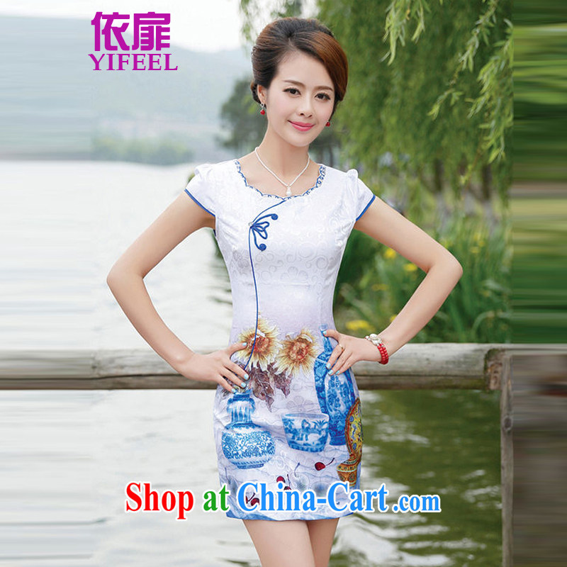 2015 new blue blue short-sleeved retro stylish and elegant qipao dresses skirts YF 8886 flower vase XXL