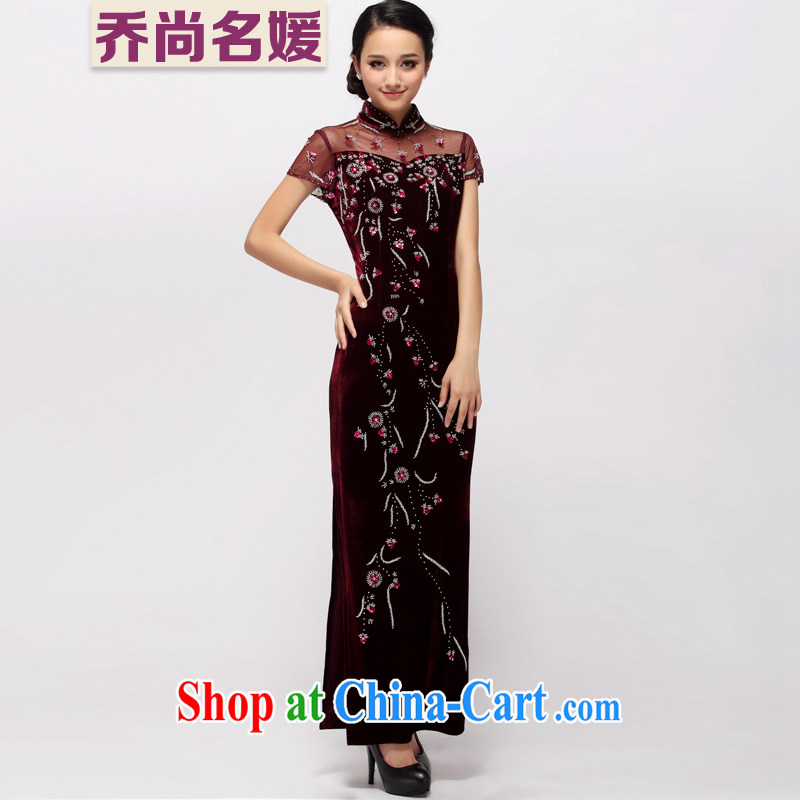 upscale banqueting velvet dress cheongsam dress long wedding MOM Replace Staple beads retro Evening Dress C 1159 maroon XXXL _2 feet 6 back_
