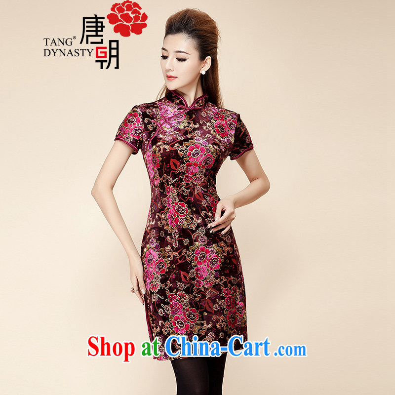 The Tang dynasty 2015 early spring new high-end antique improvement is hard-pressed for the forklift truck short-sleeved qipao dresses 30,772 wool Kim spent S