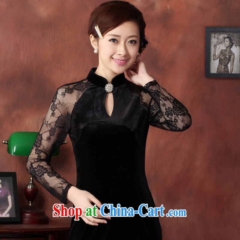 Slim li know 2015 name Yuan Stylish retro cheongsam dress lace stitching ultra graphics gaunt stretch wool QY 3319 black XXL