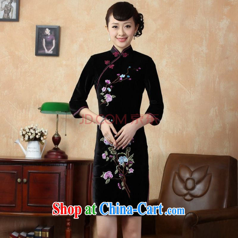 The frequency response, Ms. dress cheongsam dress, collar stretch the silk embroidered Phillips in short sleeves cheongsam - A black 2 XL