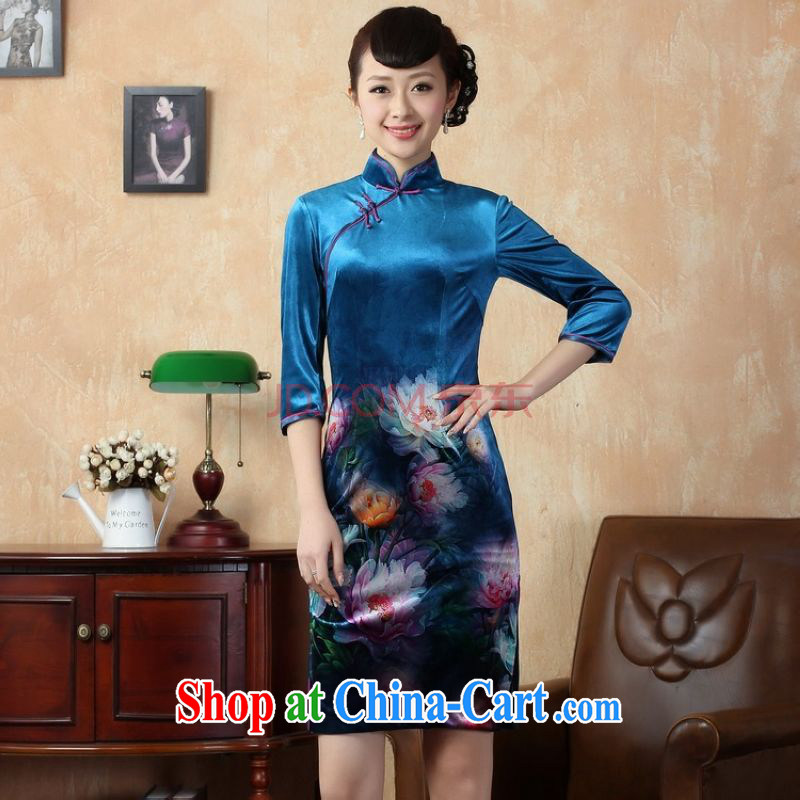 The frequency response, cheongsam dress dress improved stretch gold velour poster 7 cuff peony flower cheongsam picture color 2 XL