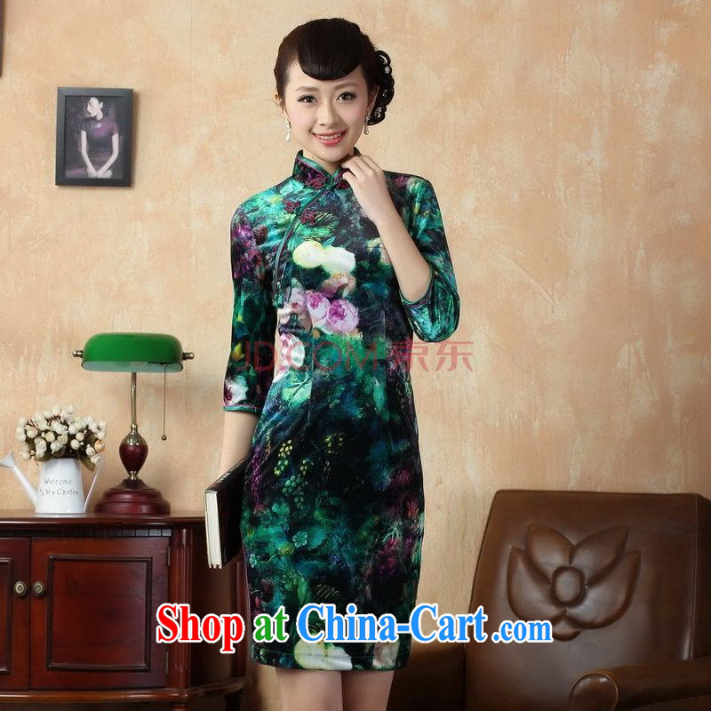 The broadband retro style classic cheongsam dress stretch gold velour poster in short sleeves cheongsam picture color 2 XL