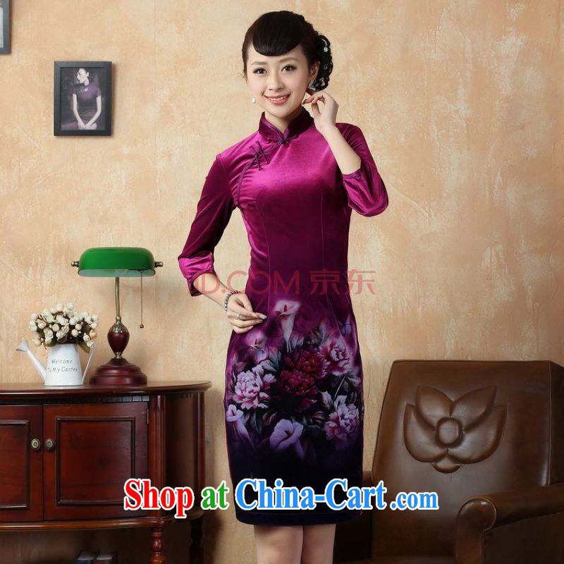 The broadband Chinese improved cheongsam dress stretch gold velour painting stylish classic in short sleeves cheongsam peony flower picture color 2 XL