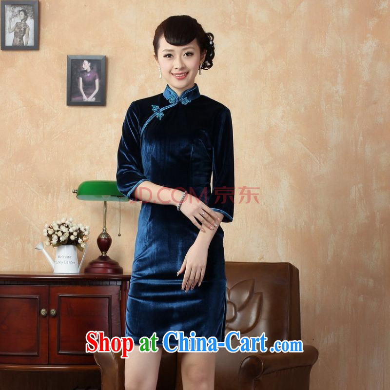 The frequency response of 7 cuff dress cheongsam dress-stretch-wool dresses - D the cyan 2XL