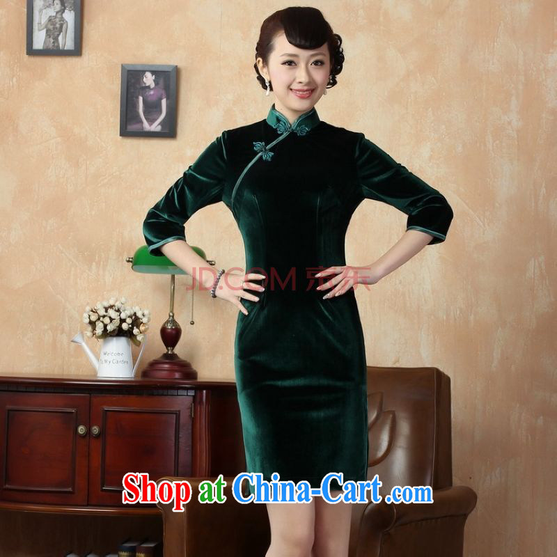The broadband Chinese improved cheongsam dress solid color-stretch-velvet cheongsam 7 Cuff - C green 2 XL