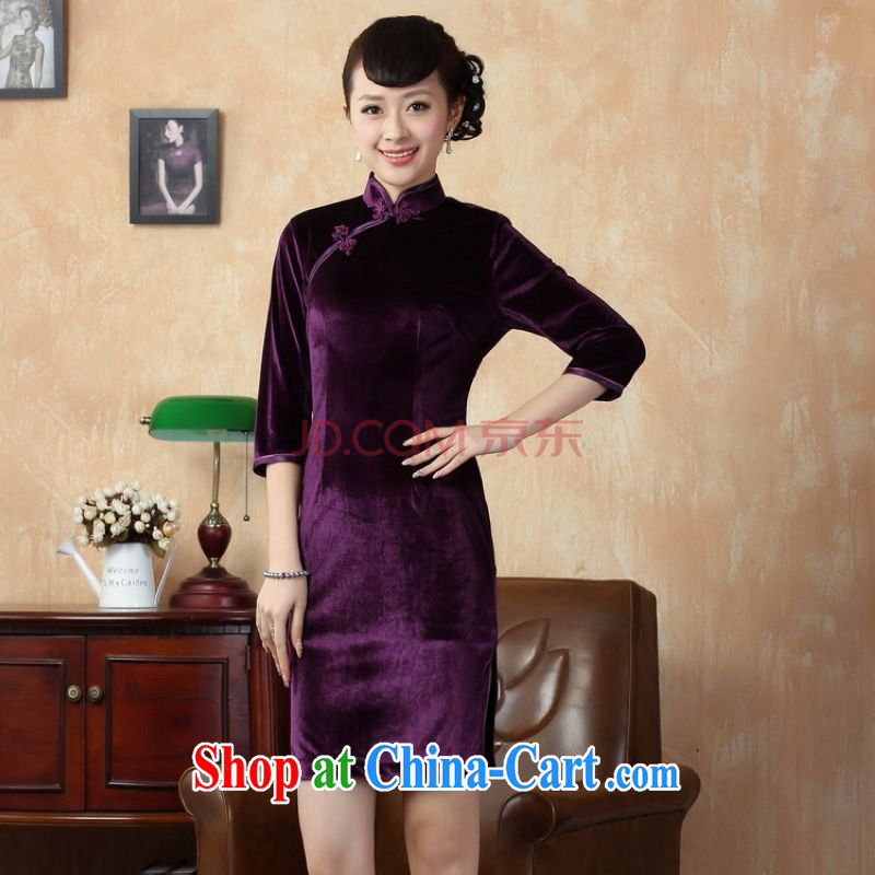 The broadband new Pure color-stretch-wool dresses 7 Ms. cuff cheongsam dress - B violet 2 XL