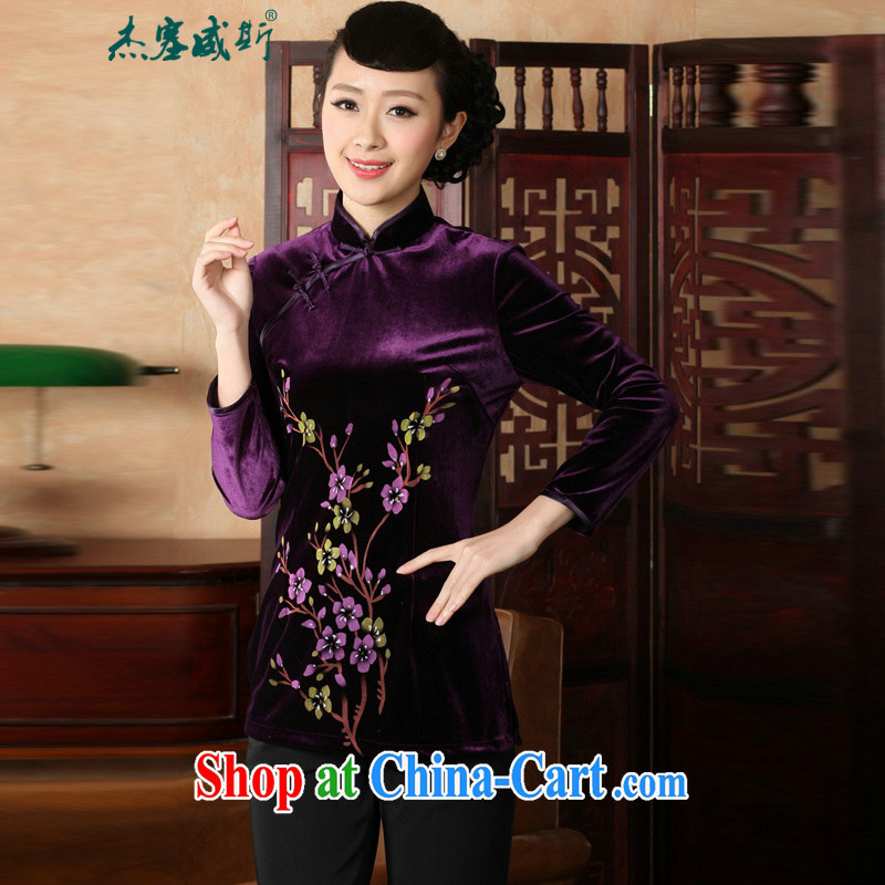 Jessup, autumn and the Chinese clothing Ethnic Wind women's clothing improved hand-painted stamp 9 sub-cuff wool dresses T-shirt Chinese A 0065 purple聽XXXL