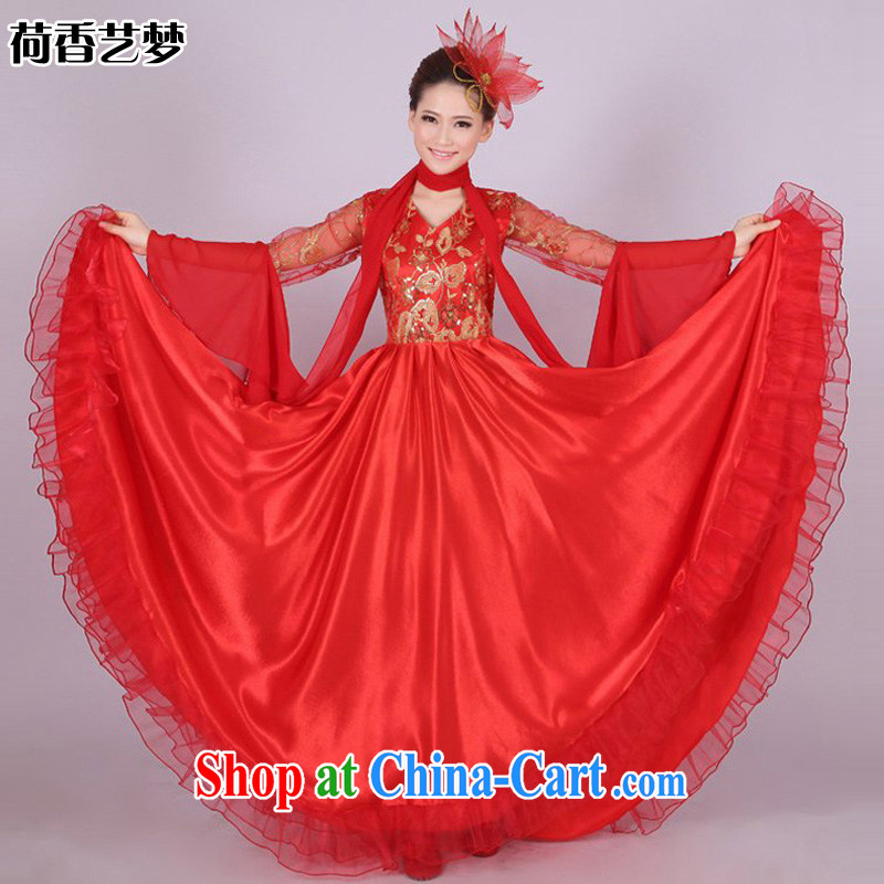 I should be grateful if you would arrange for her dream national chorus serving female long skirt opening dance clothing large skirt show dress red blue and yellow HXYM 0001 red 180XL size too big a code