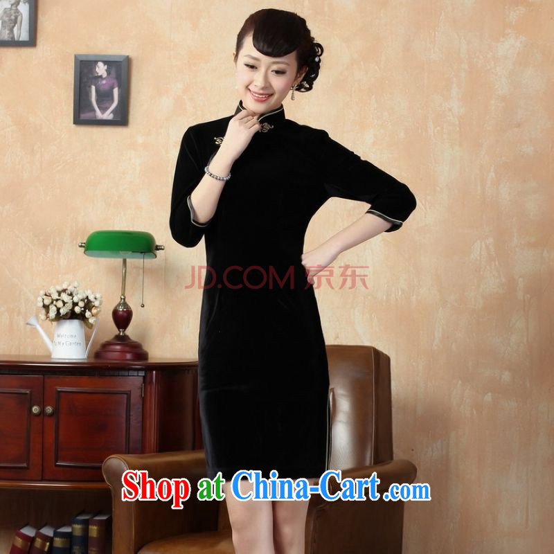 The frequency, improved cheongsam solid color-stretch-velvet cheongsam - A black 2 XL
