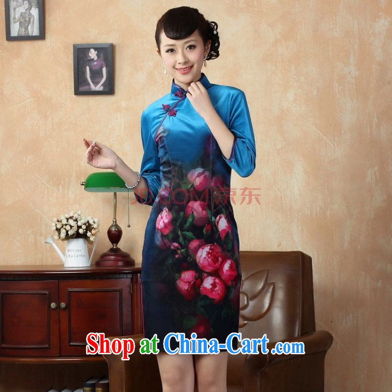 The band improved the velvet painting stylish classic in short sleeves cheongsam, qipao gown dresses the cyan 2XL