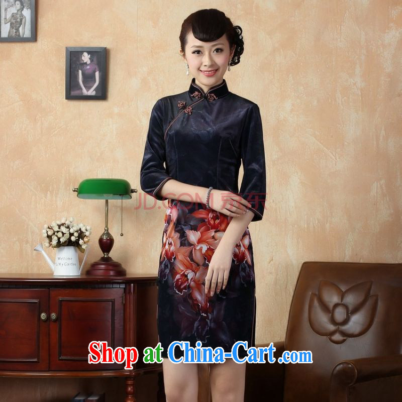 The frequency, cheongsam dress dresses stretch gold velour painting stylish classic in short sleeves cheongsam dress dark blue 2 XL