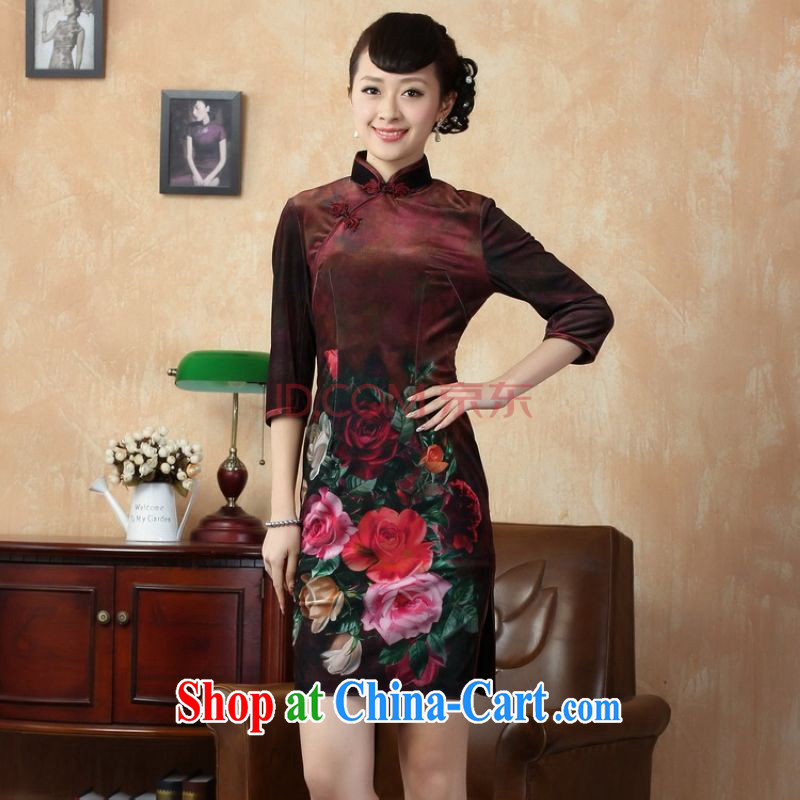 The frequency, cheongsam dress dresses stretch gold velour painting stylish classic in short sleeves cheongsam wine red 2 XL