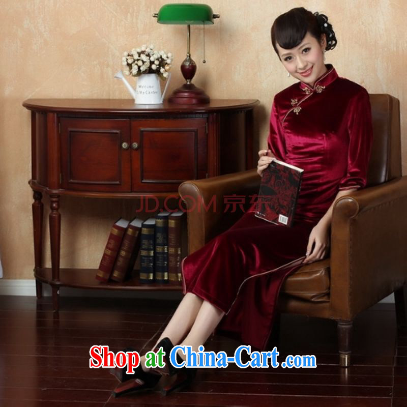 The frequency Chinese improved cheongsam dress long skirt-stretch-velvet cheongsam 7 cuff wine red XL