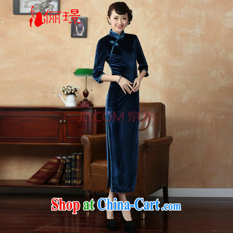 The frequency, cheongsam dress-stretch-velvet cheongsam 7 cuff Chinese improved cheongsam dress - D Blue 2 XL