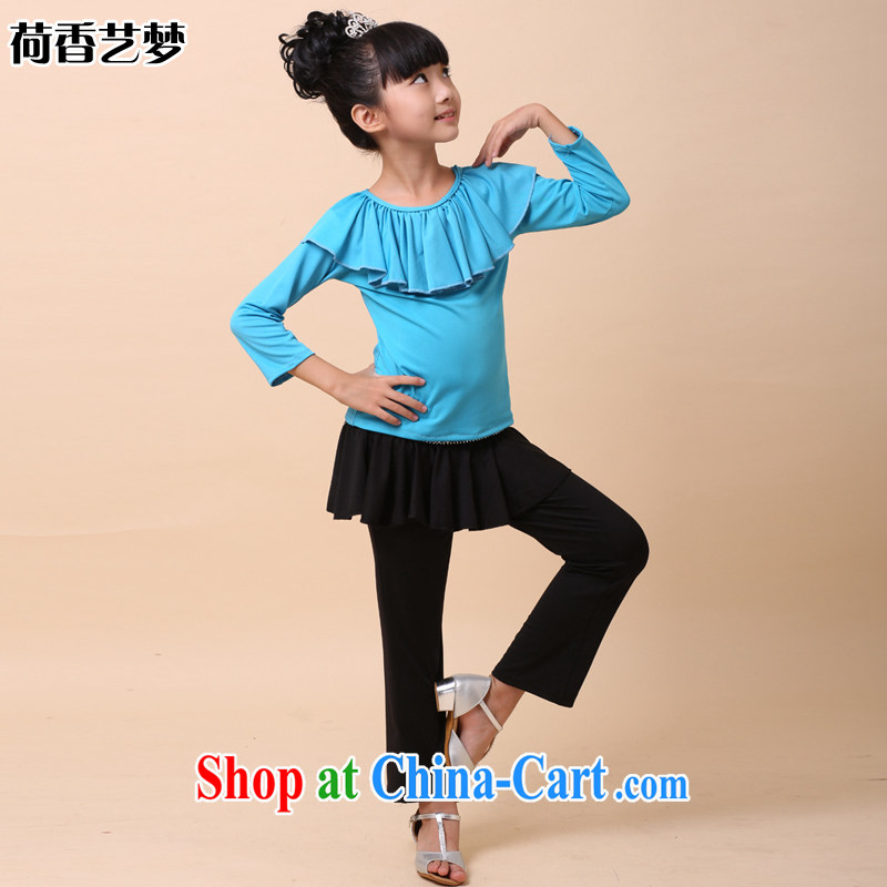 I should be grateful if you would arrange for Performing Arts Hong Kong dream Latin Dance clothing girls clothes Kit children's Latin Dance clothing fall and winter new Latin service HXYM sky blue 0021 160