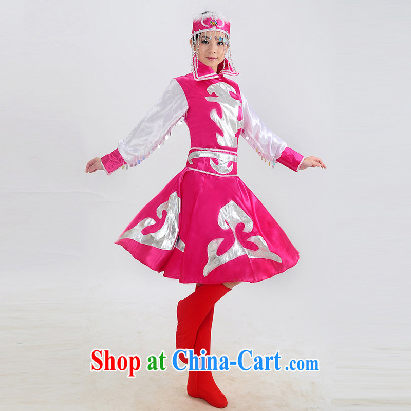 Dual 12 arts dream minority clothing Mongolian costumes costumes dresses robes stage Mongolian dance clothing HXYM - 0022 pink XXL