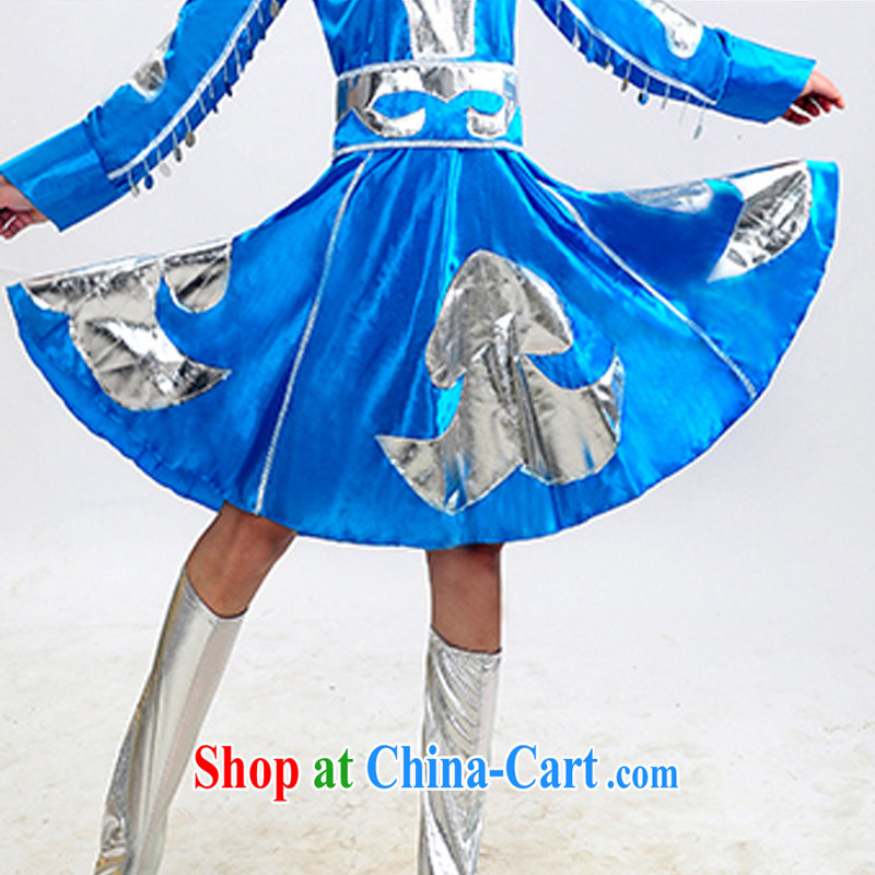 Dual 11 new special minority clothing Mongolian dress Mongolia Fashion Show clothing dancing girl stage costumes HXYM 0023 blue S in arts, and, on-line shopping
