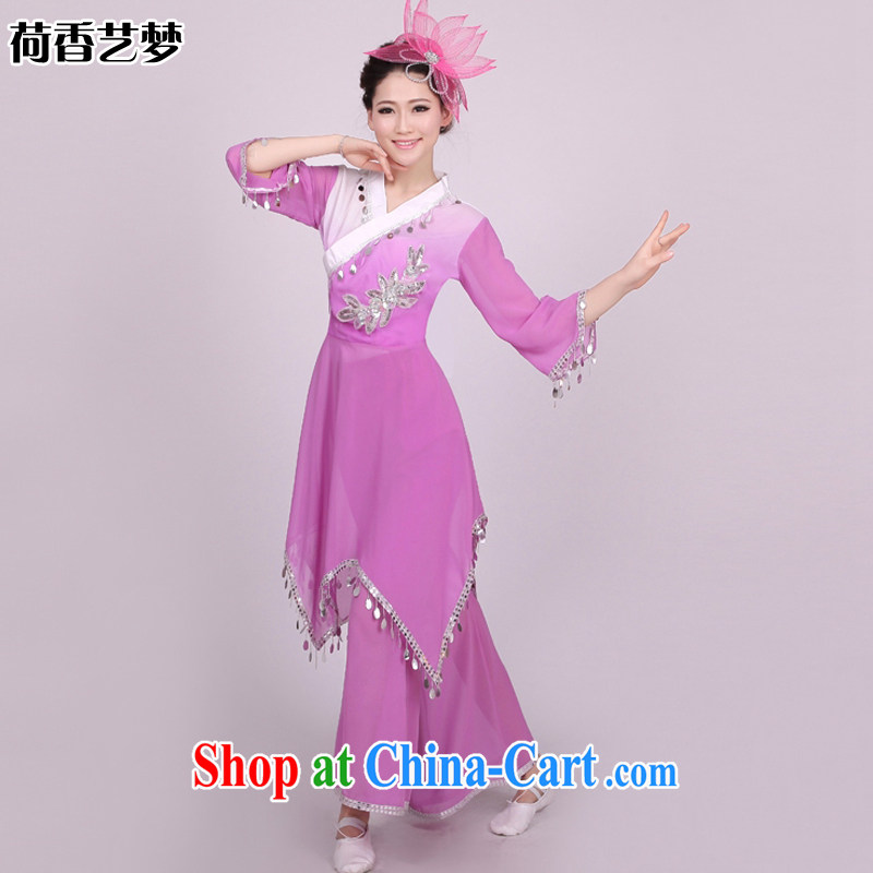 I should be grateful if you would arrange for her dream yangko dance serving Janggu skit National Service Fan Dance Square dance clothing classic female HXYM 0005 violet figure L