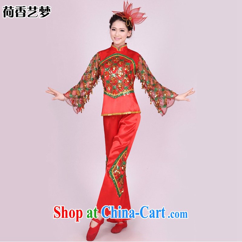 I should be grateful if you would arrange for her dream yangko dance apparel square dance troupe performed ethnic dance fans Janggu dance troupe HXYM 0003 red XXXL