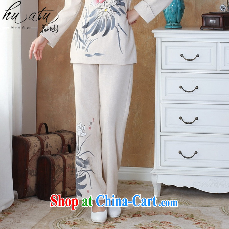 Take the fall, older women, trouser press with Tang Yau Ma Tei cotton pants trousers ink stamp duty has been the cotton pants the Commission - 1 beige 3XL