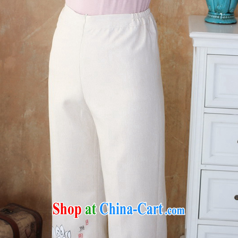 Take the autumn new middle-aged and older women, trouser press with Tang Yau Ma Tei cotton pants trousers water and ink stamp duty has been the cotton pants the Commission - 1 beige 3XL, spend figure, online shopping