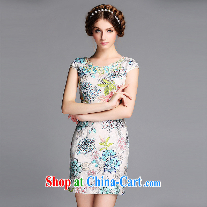Summer 2014 new improved fashion round collar Embroidery is not the Lao short cheongsam QF 140,602 picture color XXL