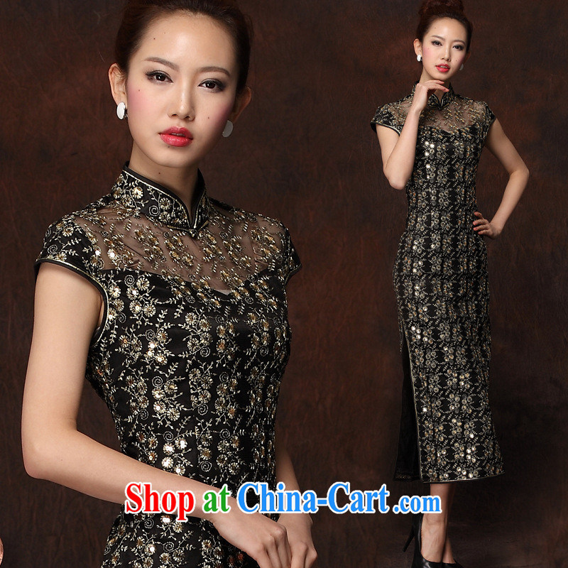 2014 new improved stylish long cheongsam embroidery high's sexy retro banquet cheongsam dress girls black S