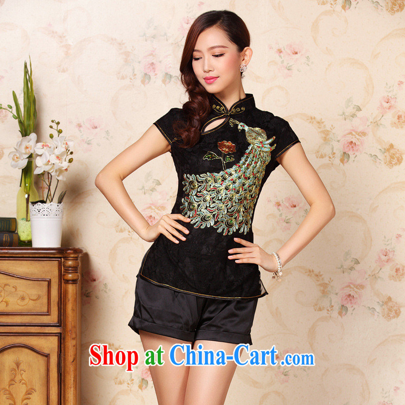 The 2013 can also summer New and Improved embroidery cheongsam stylish T-shirt ethnic Chinese wind-tang black XXXL