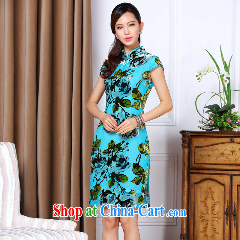 2013 summer new improved stylish low-power's Sauna silk daily short cheongsam Shenzhen factory wholesale blue XXXXL