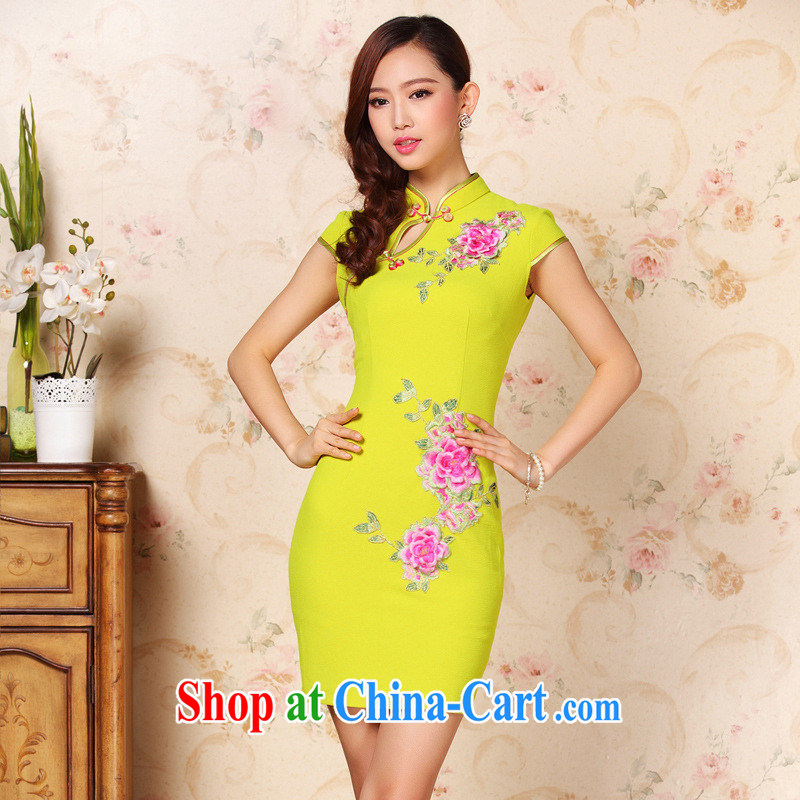 2013 new improved stylish three-dimensional Embroidery is not the forklift truck beauty short cheongsam dress girls summer Factory Shenzhen wholesale picture color XXL