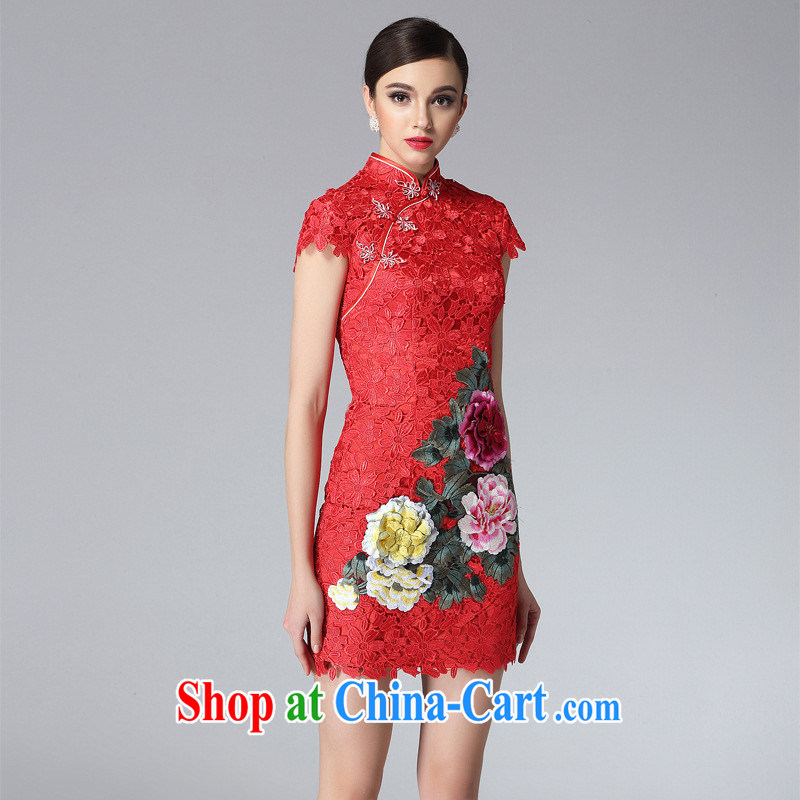 New high quality water-soluble lace cheongsam dress stylish and improved three-dimensional embroidery elegant qipao female factory wholesale black XXL