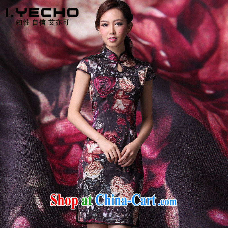 2013 new female silk stylish improved cheongsam summer short antique Chinese standard counters cheongsam picture color XXL