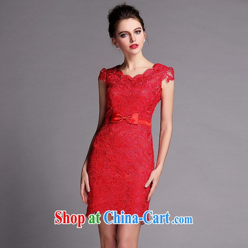 2014 new improved cheongsam water soluble biological empty red dress QF 140,504 Shenzhen factory wholesale red XXL