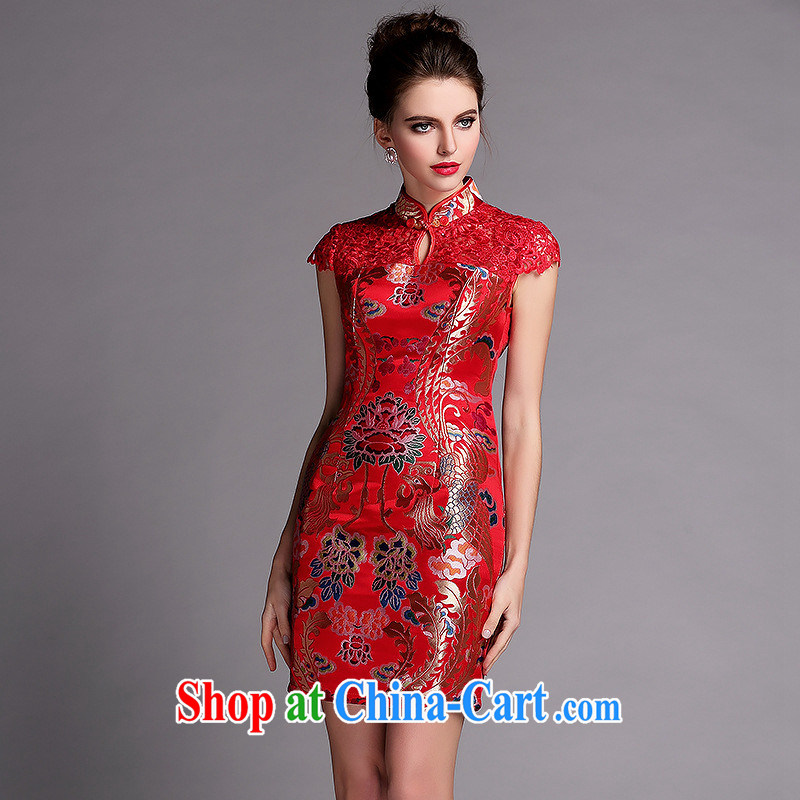 2014 new improved stylish water-soluble cheongsam sexy wedding dress QF 140,505 red XXL