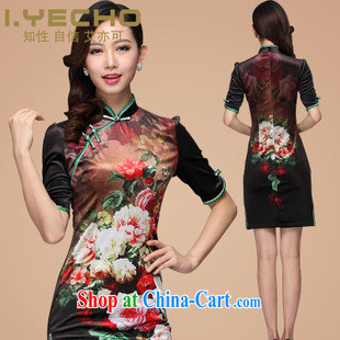 2013 fall and winter new wool stamp improved retro style short sleeves cheongsam, SHENZHEN FACTORY direct picture color XL