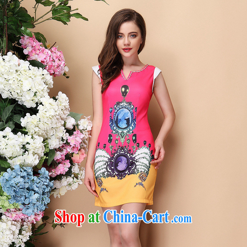 2014 spring and summer new improved stylish short-sleeve stamp duty is not the Lao elegant cheongsam dress Shenzhen factory wholesale Mui red XXL