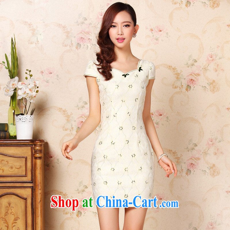 Summer 2014 new improved fashion without the forklift truck everyday casual facade short cheongsam dress girls Shenzhen factory wholesale picture color XXL