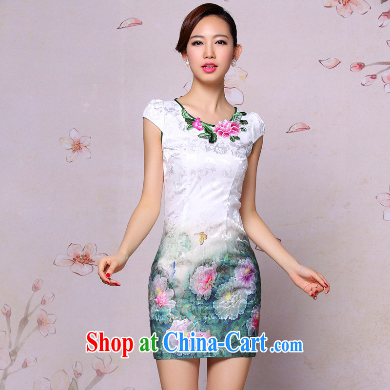 Summer 2014 new improved fashion cheongsam dress retro embroidered daily Leisure Short cheongsam dress picture color L