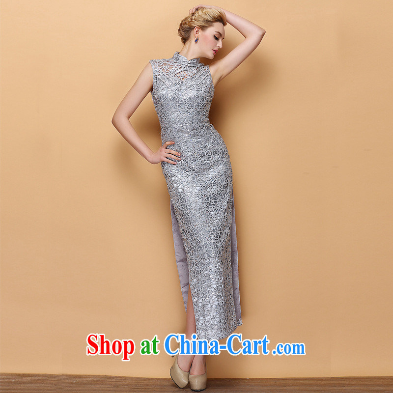 2014 new improved style, collar dress Openwork, cultivating banquet long cheongsam Shenzhen factory wholesale silver S