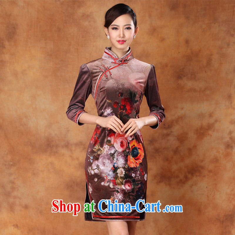 Spring 2013 new Korean velvet stamp retro improved in short sleeves, a tight outfit ceremonial dress picture color XXXL