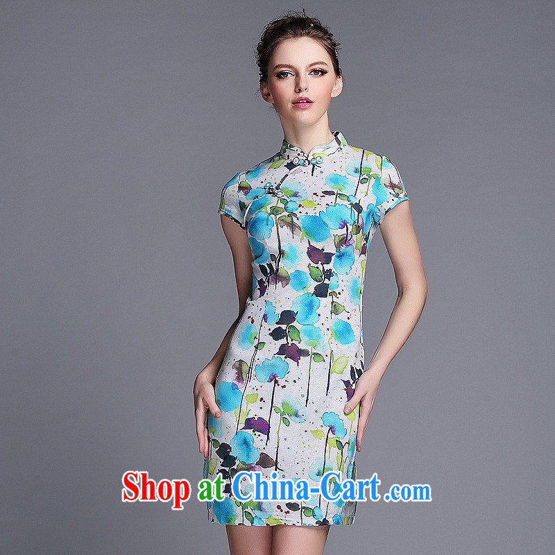 Summer 2014 new linen ink stamp-Korea Lao wind short cheongsam manufacturer wholesale QF 140,531 picture color XXL