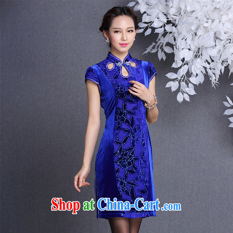 Winter New and Improved Stylish retro wool stitching short-sleeved short cheongsam Shenzhen Original Design wholesale Po blue XXL