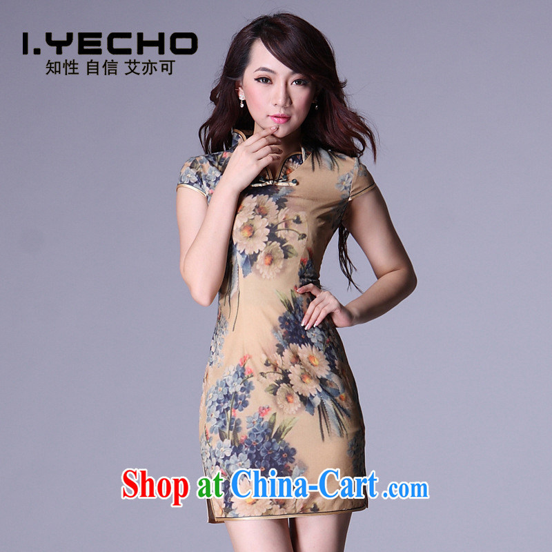 Emulation, improved Stylish retro casual low-power's short cheongsam dress/Shenzhen factory outlets/mixed batch picture color XXL