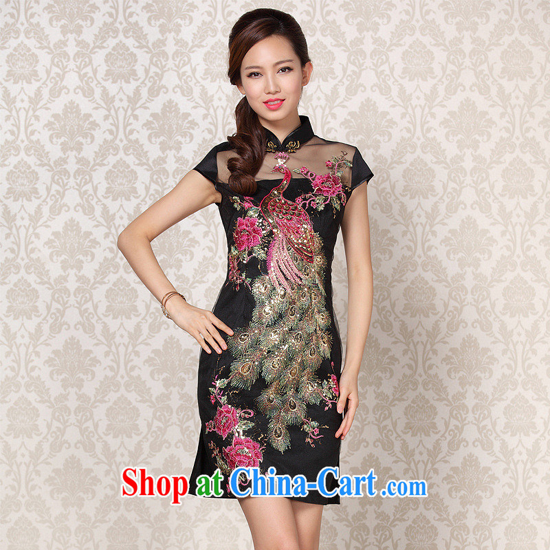 2013 fall/winter new improved Stylish retro Web yarn embroidery cheongsam Shenzhen factory Lot/Batch Mixing Black XXL