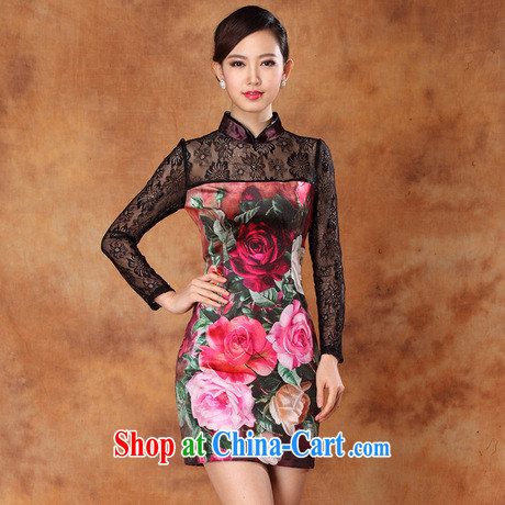 Wholesale new autumn sexy lace wool stamp improved stylish short, long-sleeved cheongsam dress dress as S